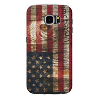Bandera americana en bord de madera fundas samsung galaxy s6