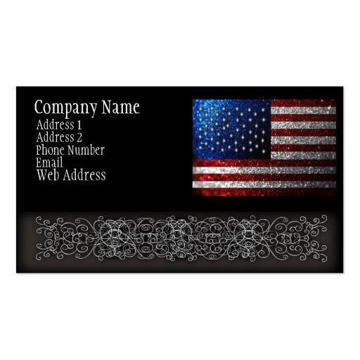 Bandera americana en brillo tarjetas de visita