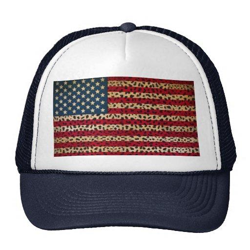 Bandera americana en diseño de la impresión del pu gorras
