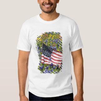 Bandera americana en el campo de capos azules, camisas