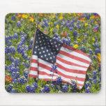 Bandera americana en el campo de capos azules, tapete de ratones