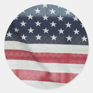Bandera americana en el condado de Sussex justo Etiqueta Redonda