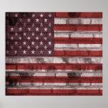 Bandera americana en el poster de la pared de ladr