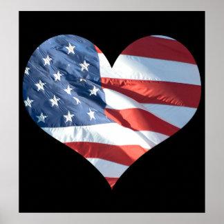 Bandera americana en forma de corazón patriótica póster