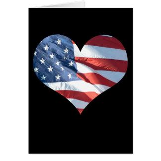 Bandera americana en forma de corazón patriótica tarjeta de felicitación