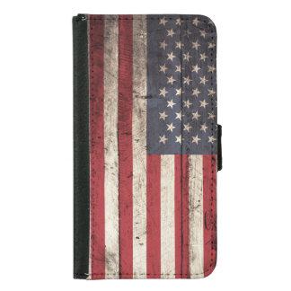 Bandera americana en grano de madera viejo