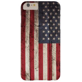 Bandera americana en grano de madera viejo funda para iPhone 6 plus barely there