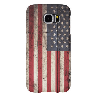 Bandera americana en grano de madera viejo fundas samsung galaxy s6