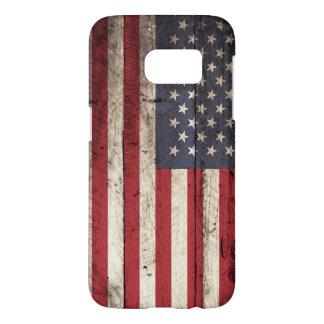 Bandera americana en grano de madera viejo fundas samsung galaxy s7