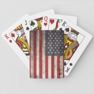 Bandera americana en grano de madera viejo barajas de cartas