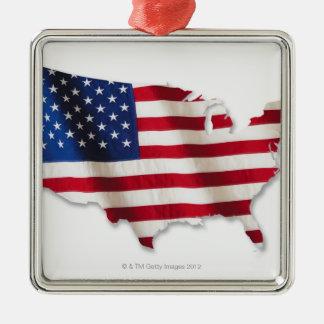 Bandera americana en la forma de Estados Unidos Adorno Navideño Cuadrado De Metal