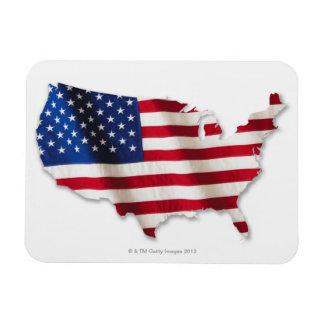 Bandera americana en la forma de Estados Unidos Imán Rectangular