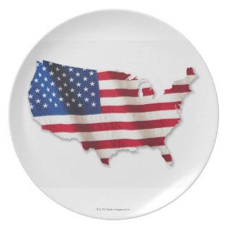 Bandera americana en la forma de Estados Unidos Platos
