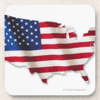 Bandera americana en la forma de Estados Unidos Posavasos De Bebida
