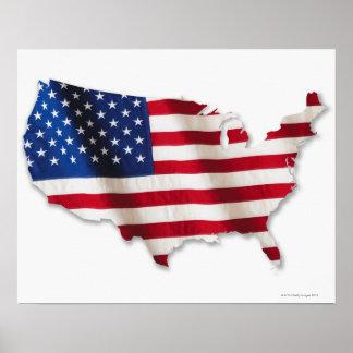 Bandera americana en la forma de Estados Unidos Póster
