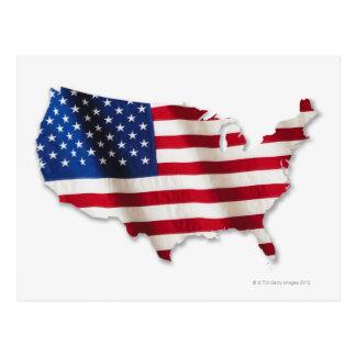 Bandera americana en la forma de Estados Unidos Tarjetas Postales