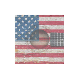 Bandera americana en la guitarra acústica vieja imán de piedra