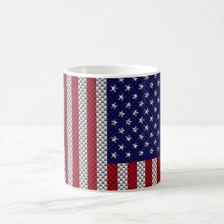 Bandera americana en la impresión del estilo de la taza clásica