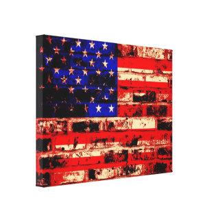 Bandera americana en la pared de ladrillo vieja impresión en lona estirada