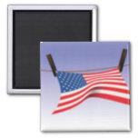 Bandera americana en línea de ropa iman