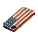 Bandera americana envejecida apenada Case-Mate iPhone 4 carcasa