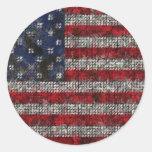 Bandera americana etiqueta redonda