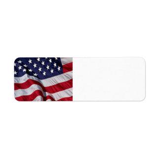 Bandera americana etiquetas de remite