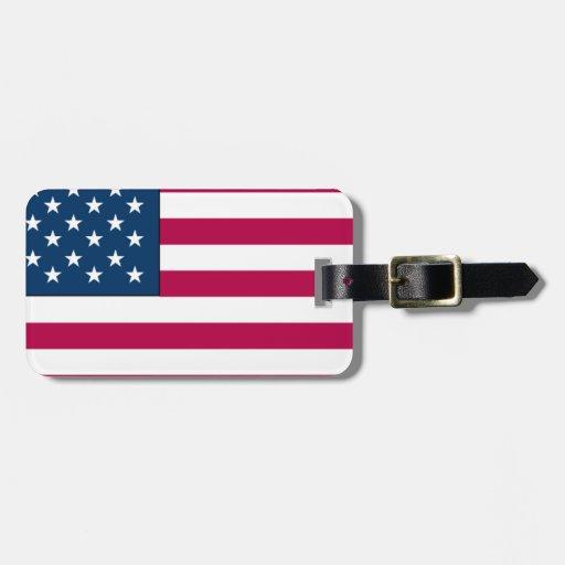 Bandera americana etiquetas maleta