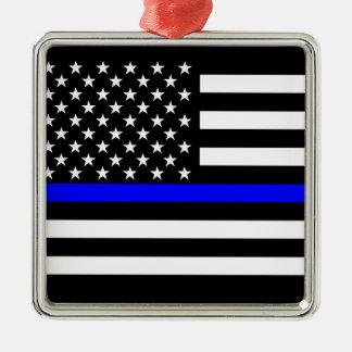 Bandera americana fina de Blue Line blanco y negro Adorno Navideño Cuadrado De Metal