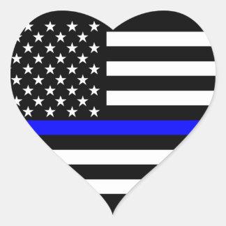 Bandera americana fina de Blue Line blanco y negro Pegatina En Forma De Corazón