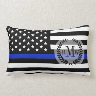 Bandera americana fina de Blue Line Cojín
