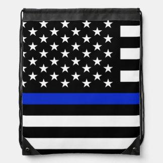 Bandera americana fina de Blue Line Mochila