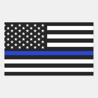 Bandera americana fina de Blue Line Pegatina Rectangular