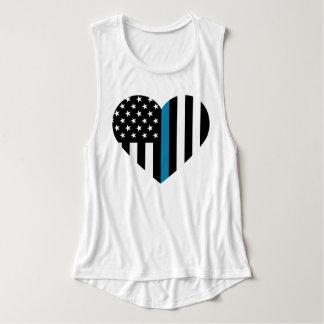 Bandera americana fina de Blue Line Playera Con Tirantes