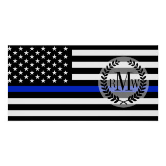 Bandera americana fina de Blue Line Póster