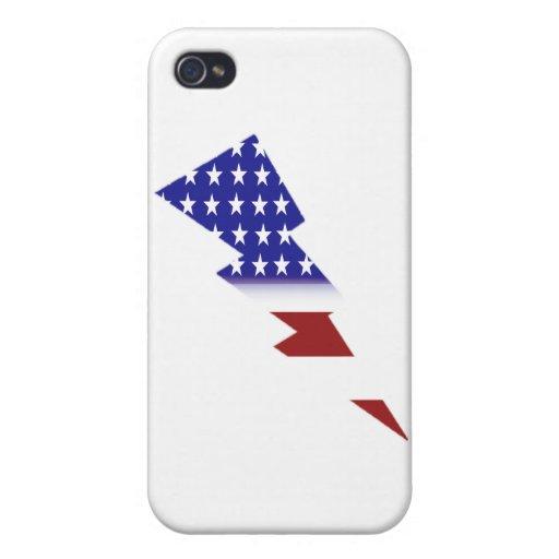 Bandera americana - forma del relámpago iPhone 4 cárcasa