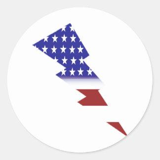 Bandera americana - forma del relámpago pegatinas
