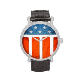 Bandera americana gastada relojes de mano