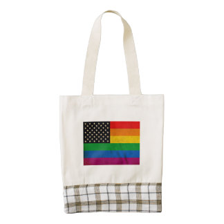 Bandera americana gay bolsa tote zazzle HEART