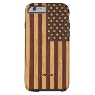 Bandera americana grabada modelo de bambú de los funda para iPhone 6 tough