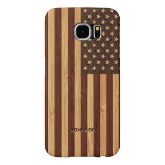 Bandera americana grabada modelo de bambú de los fundas samsung galaxy s6