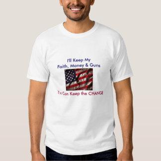bandera americana, guardaré mi fe, dinero y armas. playera