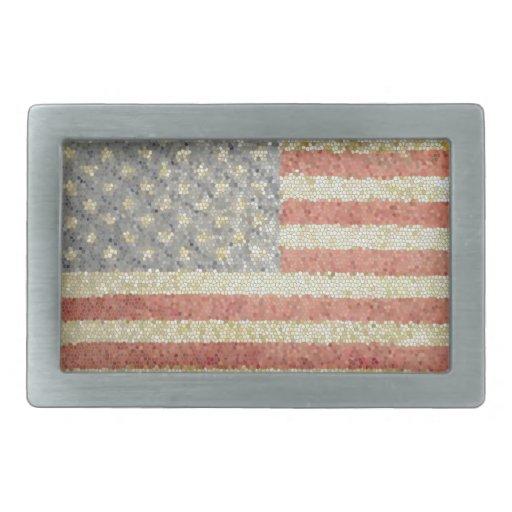 Bandera americana hebilla de cinturon rectangular