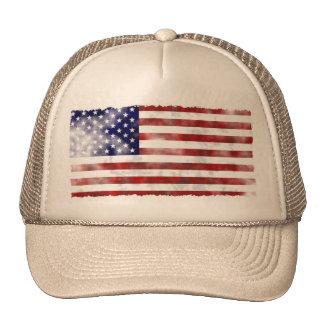 Bandera americana hecha andrajos del vintage gorros