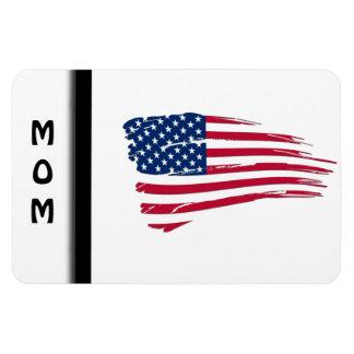 Bandera americana hecha andrajos imán rectangular
