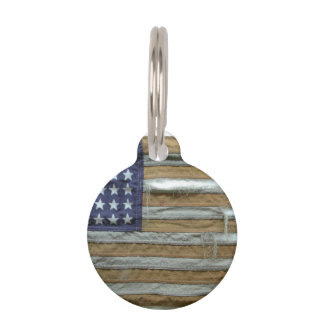 Bandera americana hecha andrajos placas para mascotas