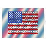 Bandera americana hecha de corazones felicitación