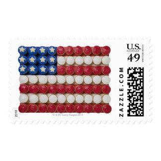 Bandera americana hecha de magdalenas sellos