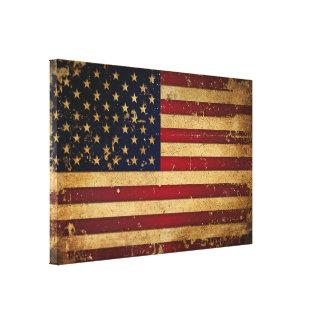 Bandera americana impresión en lona estirada