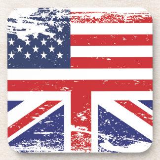 Bandera americana inglesa 2 del Grunge Posavasos